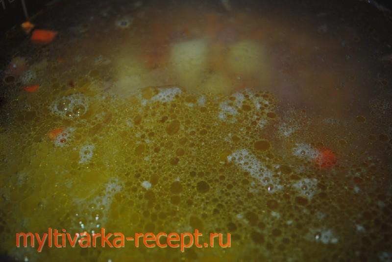 Суп гороховый  с колбасой в мультиварке филипс
