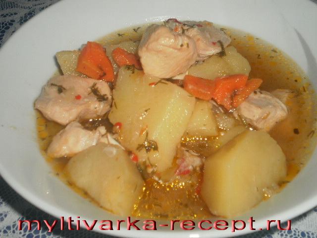 Картофель с филе курицы в мультиварке