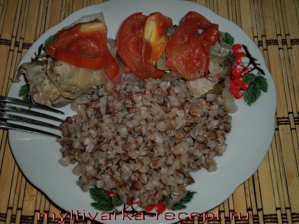 Мясо на пару  с гречкой