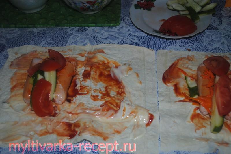 Хот-дог в лаваше рецепт с фото